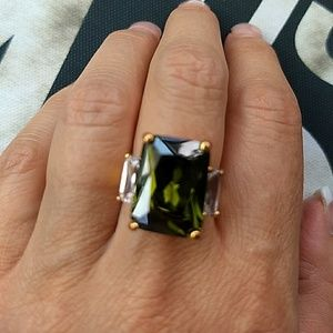 Jewelry - Large Green CZ Ring sz 6